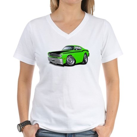 Duster 340 Lime Car Women's V-Neck T-Shirt