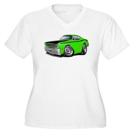 Duster 340 Lime Car Women's Plus Size V-Neck T-Shi