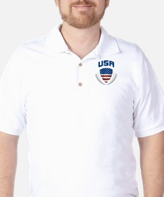 Soccer Crest USA blue/grey POCKET SIZE Golf Shirt