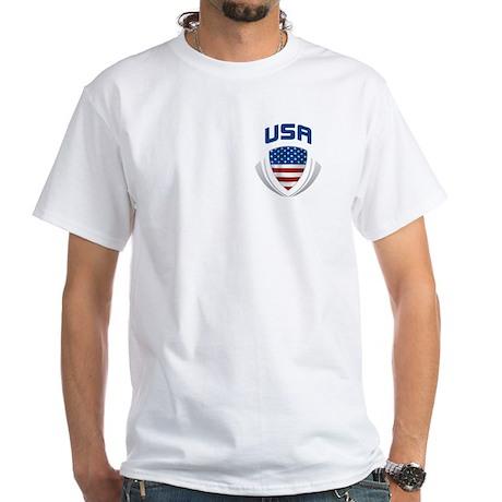 Soccer Crest USA blue/grey POCKET SIZE White T-Shi