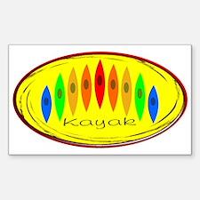 Kayak Rainbow (Yellow) Sticker (Rectangle)