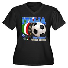 Italia World Soccer Kick Women's Plus Size V-Neck