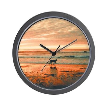 Great Dane Sunset Beach Wall Clock
