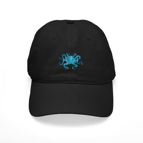 Blue Octopus Black Cap