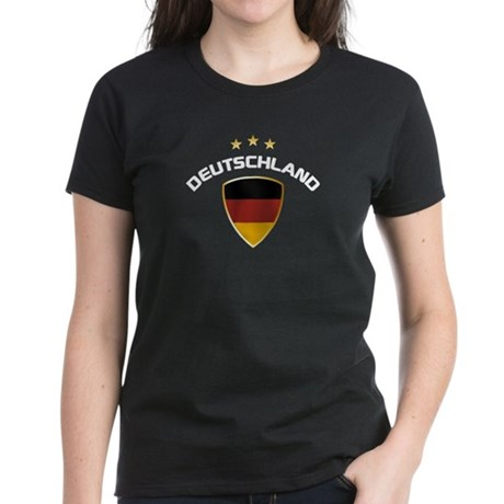 Soccer Crest DEUTSCHLAND gold white Women's Dark T