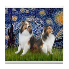 Starry / Two Shelties (D&L) Tile Coaster