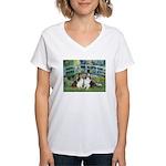 Bridge / Two Shelties (D&L) Women's V-Neck T-Shirt