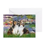 Lilies #2 / Two Shelties Greeting Cards (Pk of 10)