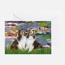 Lilies #2 / Two Shelties Greeting Card