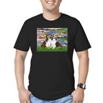 Lilies #2 / Two Shelties Men's Fitted T-Shirt (dar