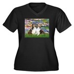 Lilies #2 / Two Shelties Women's Plus Size V-Neck