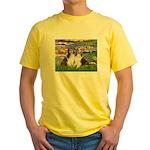 Lilies #2 / Two Shelties Yellow T-Shirt