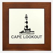 Cape Lookout NC - Lighthouse Design Framed Tile