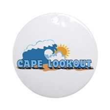 Cape Lookout NC - Waves Design Ornament (Round)