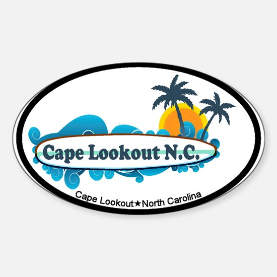 Cape Lookout NC - Surf Design Sticker (Oval)