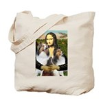 Mona Lisa / 2 Shelties (DL) Tote Bag