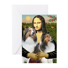 Mona Lisa / 2 Shelties (DL) Greeting Cards (Pk of