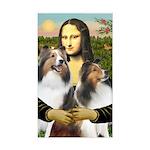 Mona Lisa / 2 Shelties (DL) Sticker (Rectangle)