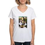 Mona Lisa / 2 Shelties (DL) Women's V-Neck T-Shirt
