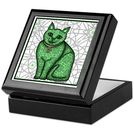 Green Pattern Cat Keepsake Box