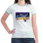 XmasSunrise/2 Shelties (dl) Jr. Ringer T-Shirt