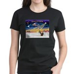 XmasSunrise/2 Shelties (dl) Women's Dark T-Shirt