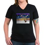 XmasSunrise/2 Shelties (dl) Women's V-Neck Dark T-