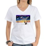 XmasSunrise/2 Shelties (dl) Women's V-Neck T-Shirt