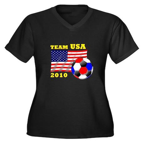 Soccer 2010 Women's Plus Size V-Neck Dark T-Shirt