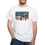 Xmas Magic / 2 Shelties (dl) White T-Shirt