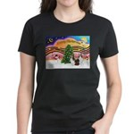 Xmas Music / 2 Shelties Women's Dark T-Shirt