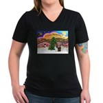 Xmas Music / 2 Shelties Women's V-Neck Dark T-Shir