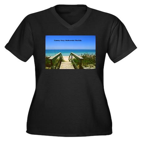 Nokomis Beach Women's Plus Size V-Neck Dark T-Shir