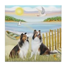 Rowboat / 2 Shelties (dl) Tile Coaster