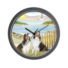 Rowboat / 2 Shelties (dl) Wall Clock