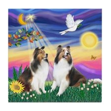 Twilight / 2 Shelties (dl) Tile Coaster