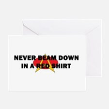 Never beam down in a red shir Greeting Card