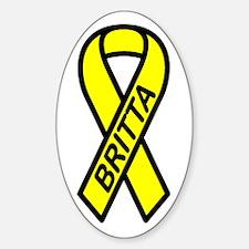 BRITTA - Yellow Ribbon Oval Decal