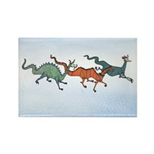 Colorful Sky Dragons Rectangle Magnet
