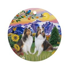 Mt Country/2 Shelties Ornament (Round)