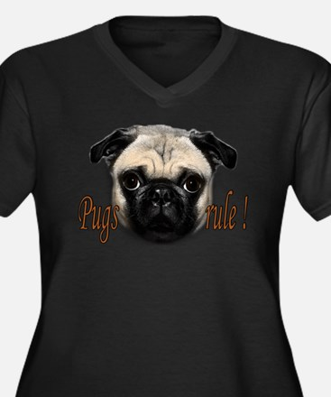 PUG Women's Plus Size V-Neck Dark T-Shirt