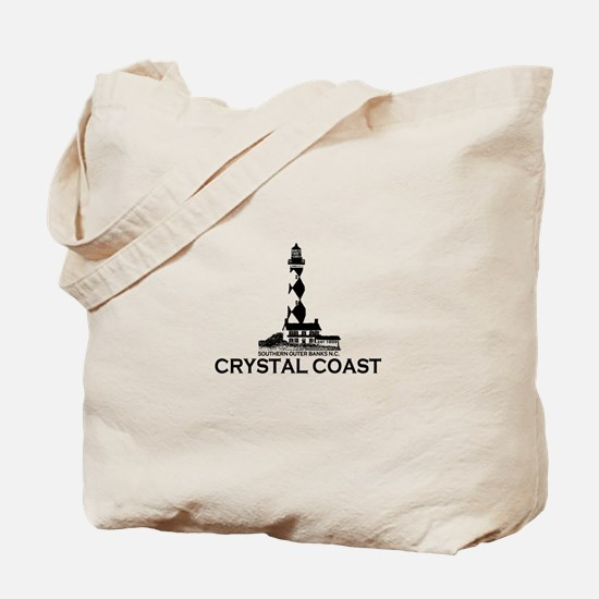 Crystal Coast NC - Lighthouse Design Tote Bag