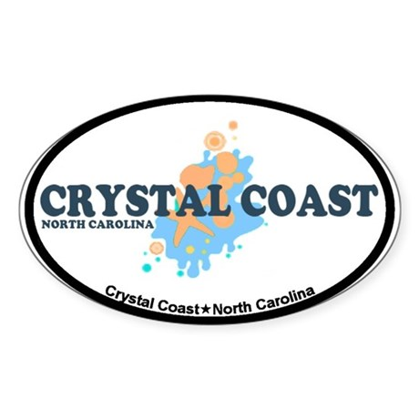 Crystal Coast NC - Seashells Design Sticker (Oval