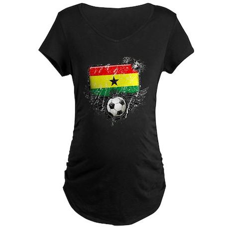 Soccer Fan Ghana Maternity Dark T-Shirt