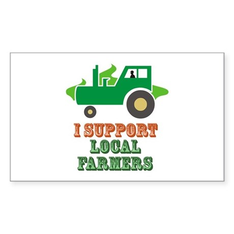 I Support Local Farmers Sticker (Rectangle)