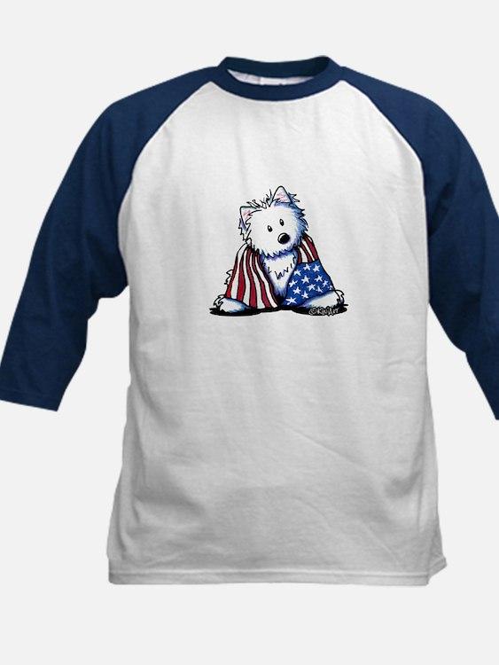 Patriotic Westie Kids Baseball Jersey