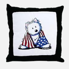 Patriotic Westie Throw Pillow