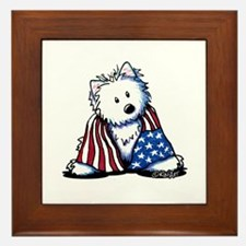 Patriotic Westie Framed Tile
