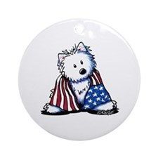 Patriotic Westie Ornament (Round)