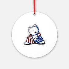 Patriotic Westie Ornament (Round)